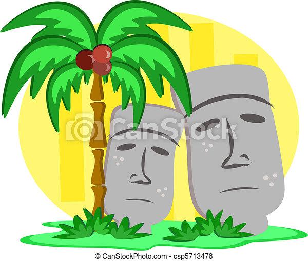 Giant Tiki Head Statues - csp5713478