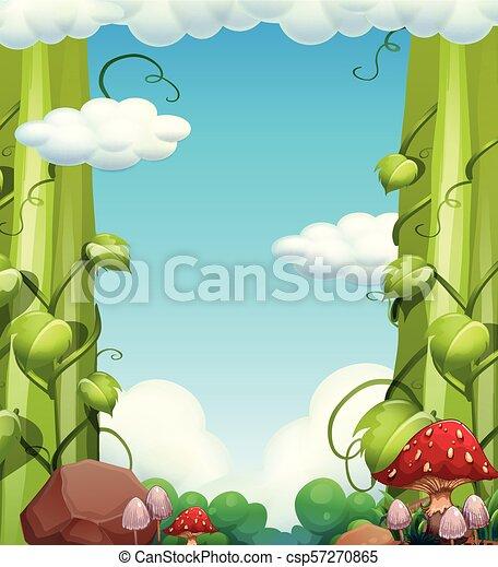 Giant Tree and Mushroom Landscape - csp57270865
