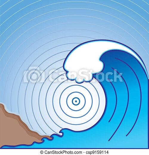 Giant Tsunami Wave - csp9159114