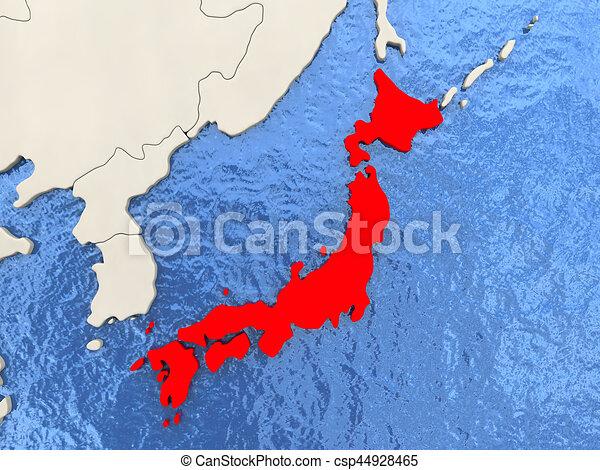 Il Giappone Cartina Politica.Giappone Mappa Acquoso Mappa Politico Illustrazione Oceans Giappone Rosso 3d Canstock