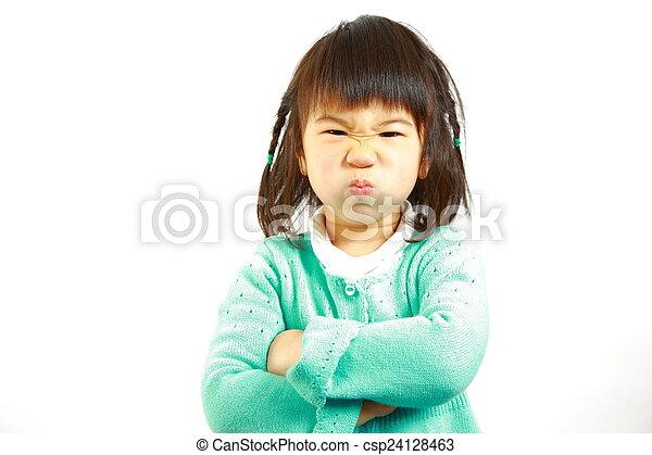 giapponese, cattivo, piccola ragazza, umore - csp24128463