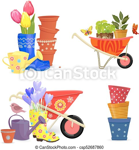 giardinaggio, colorito, primavera, collezione, equipments, mazzolini - csp52687860