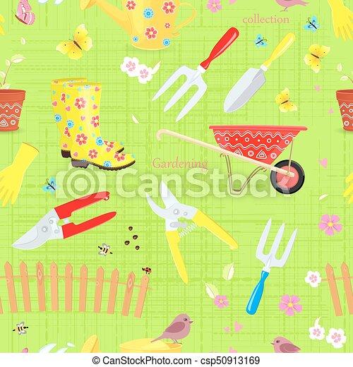 giardinaggio, colorito, seamless, collezione, struttura, attrezzi - csp50913169