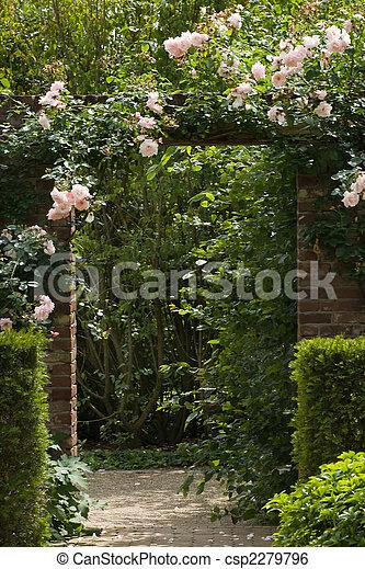 giardino, muro pietra, cancello - csp2279796