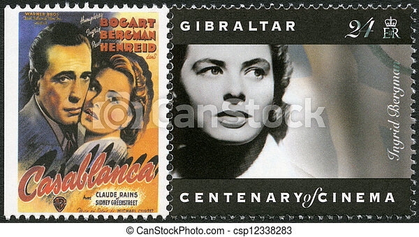 GIBRALTAR - 1995: shows Ingrid Bergman (1915-1982), actress - csp12338283