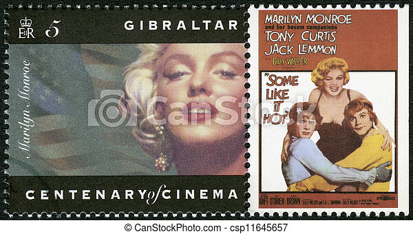 "GIBRALTAR - CIRCA 1995: A stamp printed in Gibraltar shows Marilyn Monroe, Tony Curtis, Jack Lemmon, ""Some Like It Hot"", circa 1995  - csp11645657"
