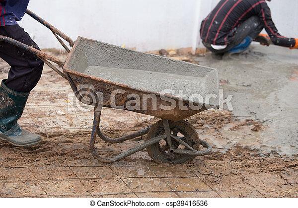 Giessen Boden Anschieben Arbeiter Zement Beton Nasse Karren