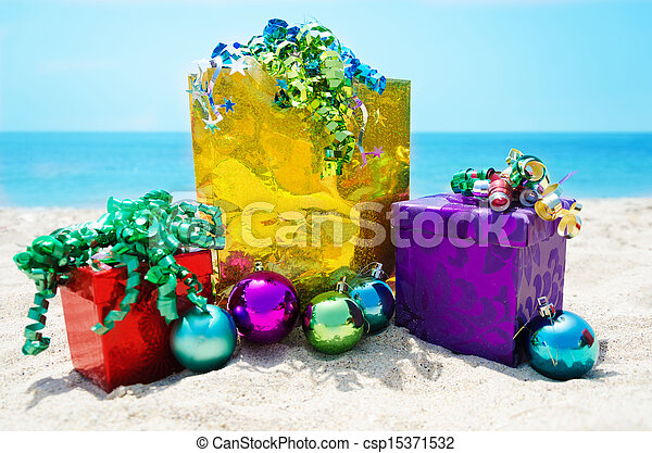 Gift bag and boxes with Christmas balls - holiday concept - csp15371532