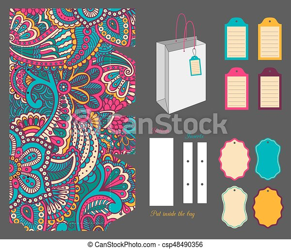 gift bag template gift bag design template with ornate texture and