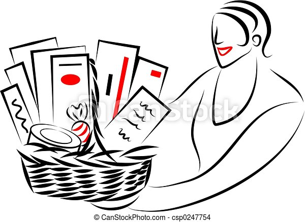 Gift Basket Clipart Black And White