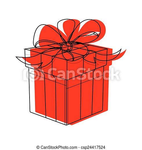 Christmas Gift Box Drawing.Gift Box Drawing