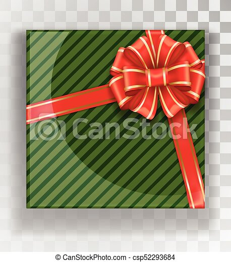 Christmas Gift Boxes.Gift Box Green Christmas Gift Boxes Isolated On A Transparent Background Green Box With A Colorful Elegant Bow Realistic Vector Object Isolated