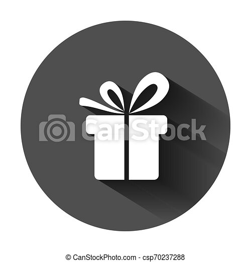 Gift box icon in flat style. Present package vector illustration on black round background with long shadow. Surprise business concept. - csp70237288