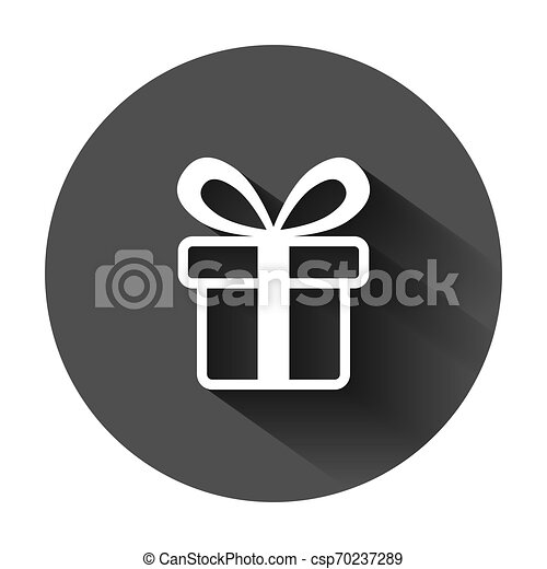 Gift box icon in flat style. Present package vector illustration on black round background with long shadow. Surprise business concept. - csp70237289