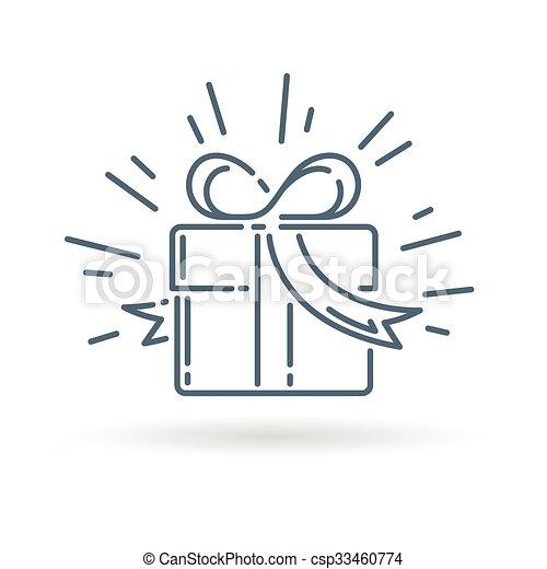 Gift Box Icon On White Background Christmas Gift Box Icon Present