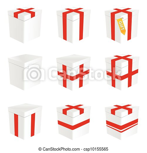 Gift box in white color illustration with red line gift box in white color illustration negle Gallery
