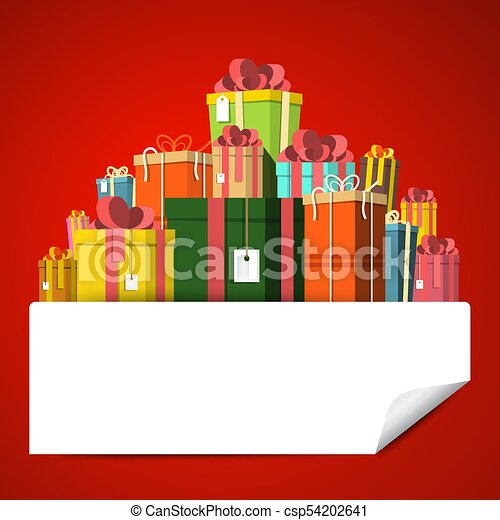 Gift Box Pile on Red Background. Vector Present Boxes with Empty Sticker. - csp54202641