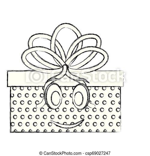 gift box present kawaii character - csp69027247