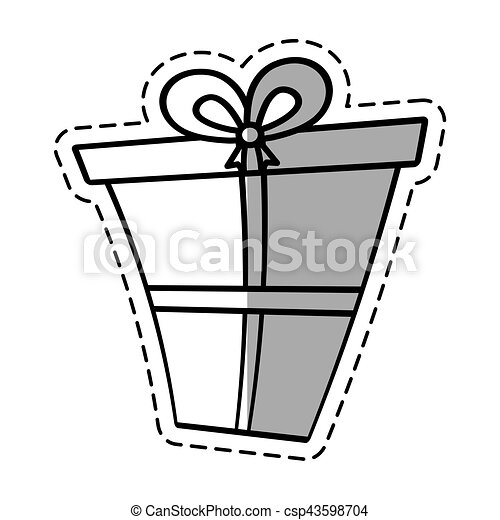 Gift box ribbon give party linea shadow vector illustration eps 10.