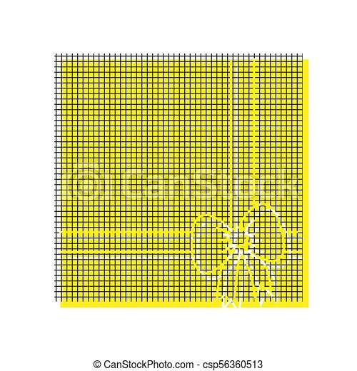 Gift box sign illustration. Vector. Yellow icon with square patt - csp56360513