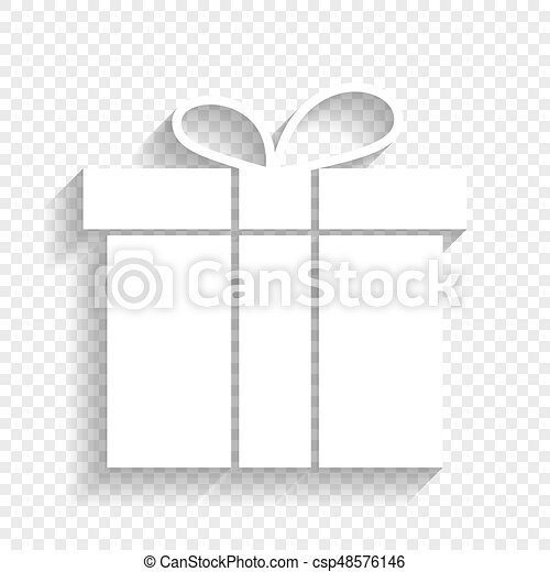 Gift Box Sign Vector White Icon With Soft Shadow On Transparent Background