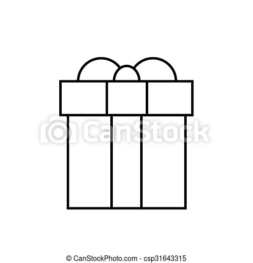 Gift Box Thin Line Minimalistic Hand Draw Logo Present Outline Icon