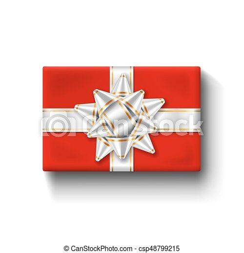 Gift box top view isolated vector template. Red gift box top view ...