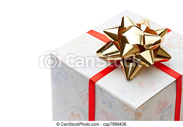 Gift box with bow on a white background - csp7989436