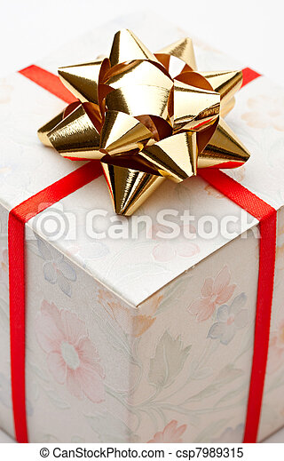 Gift box with bow on a white background - csp7989315