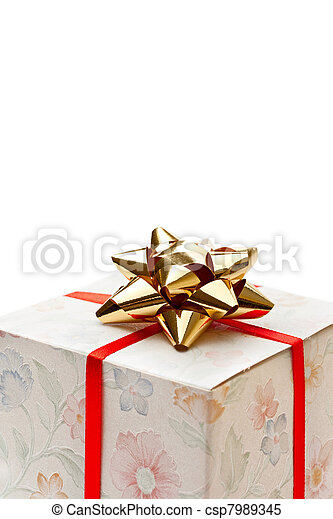 Gift box with bow on a white background - csp7989345