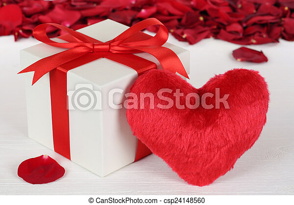 Gift box with heart for Valentine's or mother's day gifts - csp24148560