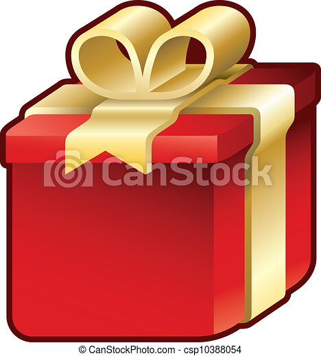 Gift Box With Red And Yellow Christmas Or Birthday Present Vector