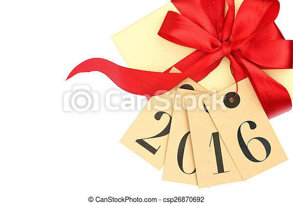 Gift box with red bow and tags with new year 2016 isolated on white - csp26870692