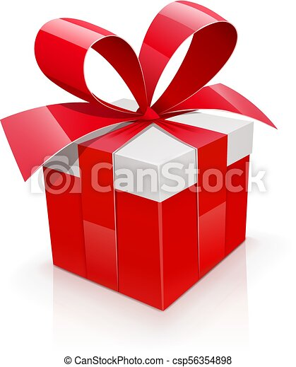 Gift Box With Red Bow Birthday Present Holiday Accessory Isolated