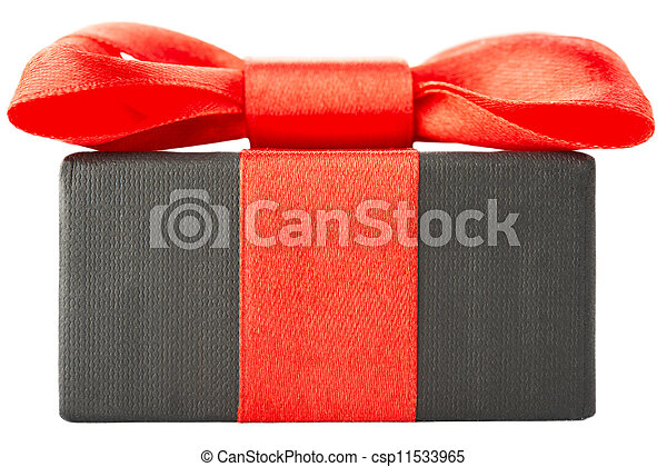 gift box with red bow - csp11533965