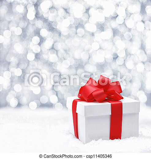 Gift box with red bow - csp11405346