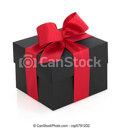 Gift Box with Red Bow - csp5791232