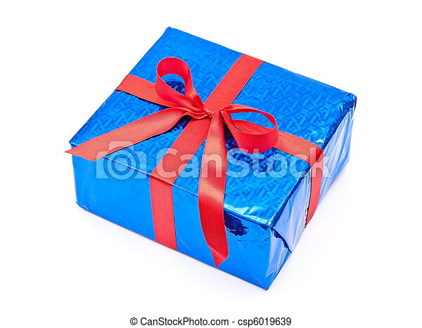 Gift box with red bow - csp6019639