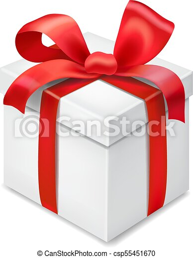 Gift Box With Red Ribbon Bow Isolated On Transparent Background