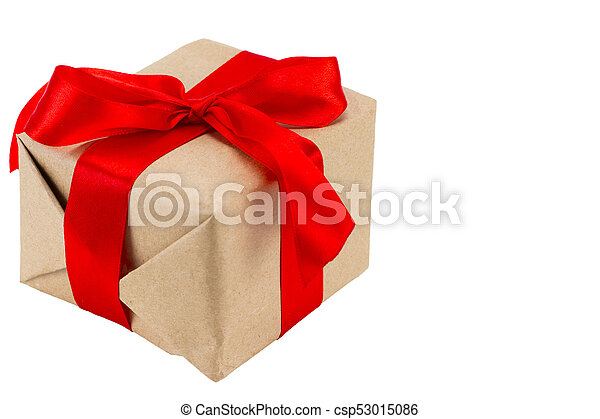 Gift box with red ribbon, isolated on the white background, clipping path included - csp53015086
