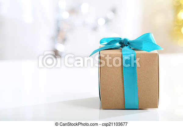 Gift box with Teal bow - csp21103677