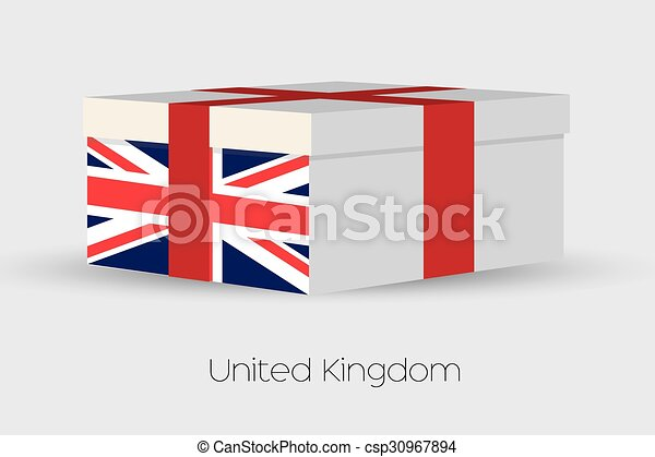 Gift Box with the flag of United Kingdom - csp30967894