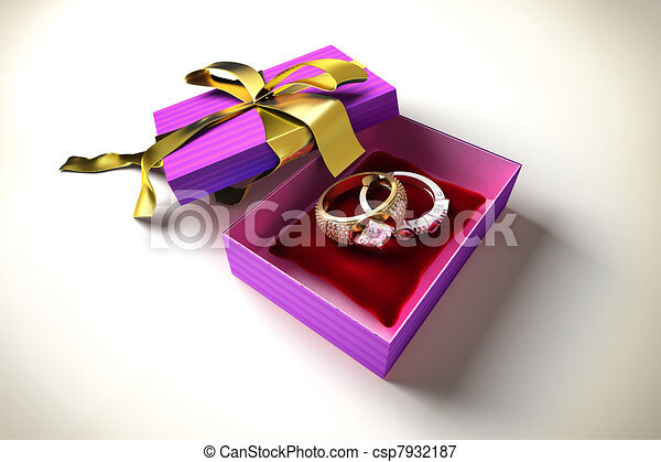 gift box with two precious rings  - csp7932187