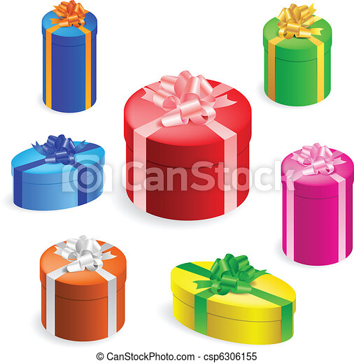 Vector illustration of 7 different round gift boxes with gift boxes vector negle Image collections