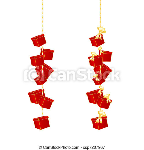 Christmas Chain Clipart.Gift Boxes Hanging On A Chain