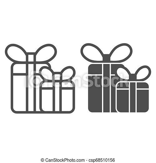Gift boxes line and glyph icon. Two presents with bow vector illustration isolated on white. Holiday package outline style design, designed for web and app. Eps 10. - csp68510156