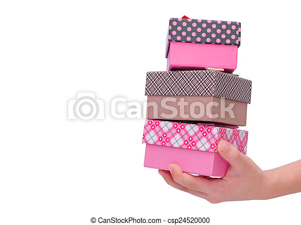 Gift boxes on hand over white background - csp24520000