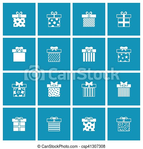Gift Boxes Vector Icons Set In White Blue