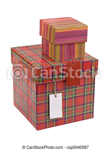 Gift boxes with blank tag - csp5040587