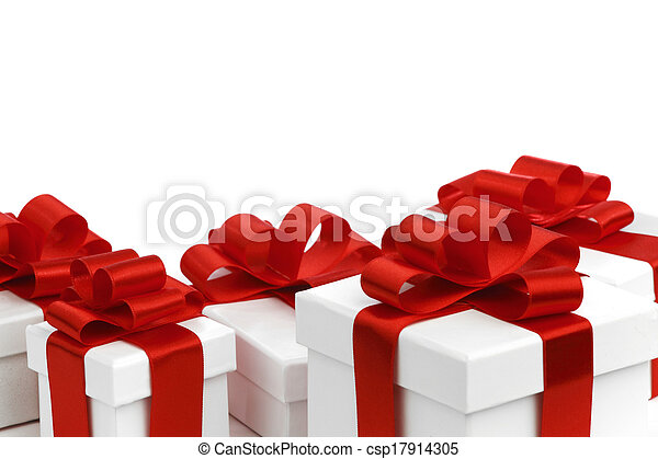 Gift boxes with red bow - csp17914305